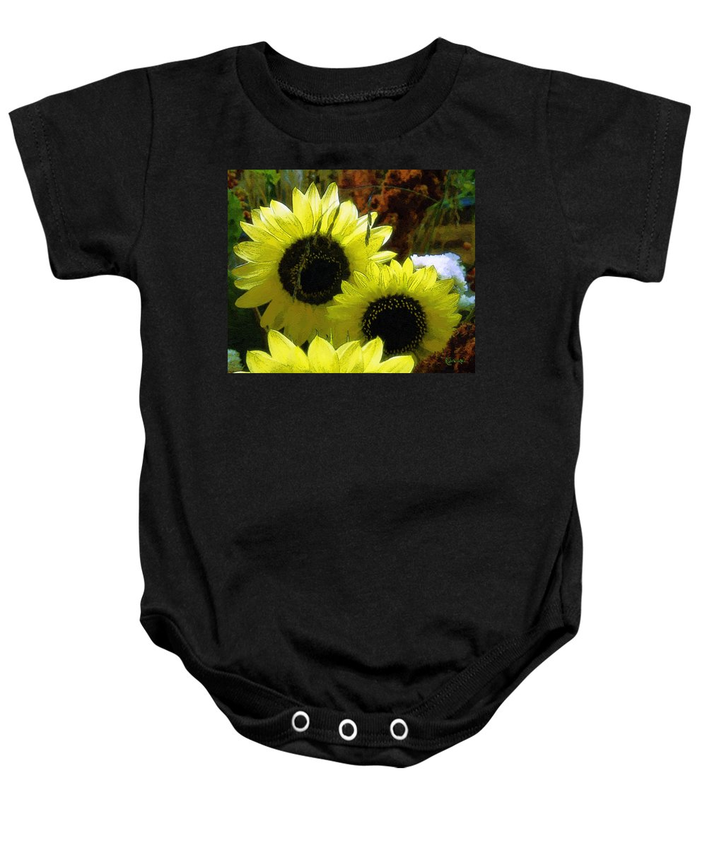 Sunflowers Baby Onesie featuring the digital art The Lemon Sisters by RC DeWinter