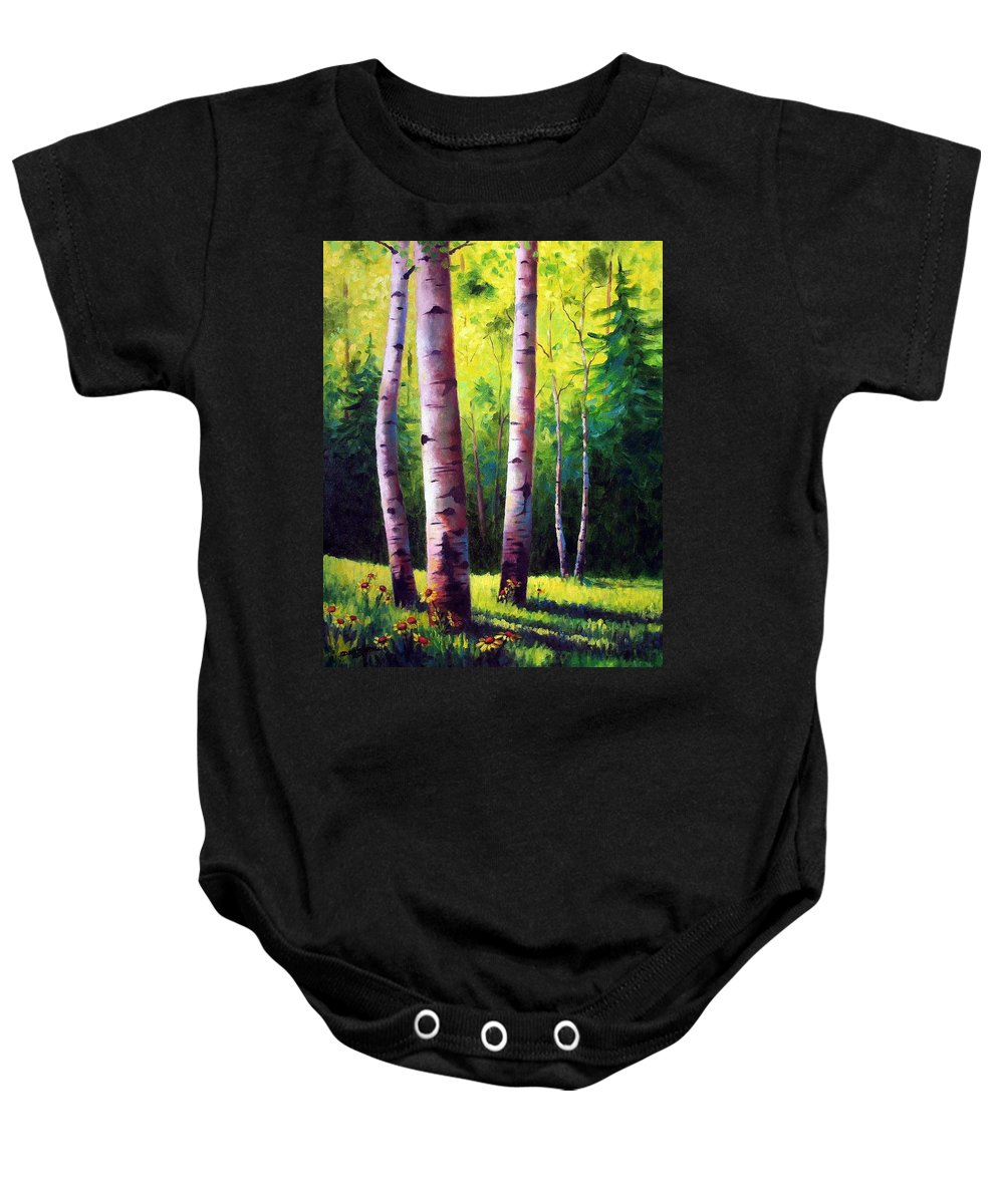 Aspen Baby Onesie featuring the painting The Light Of Spring by David G Paul