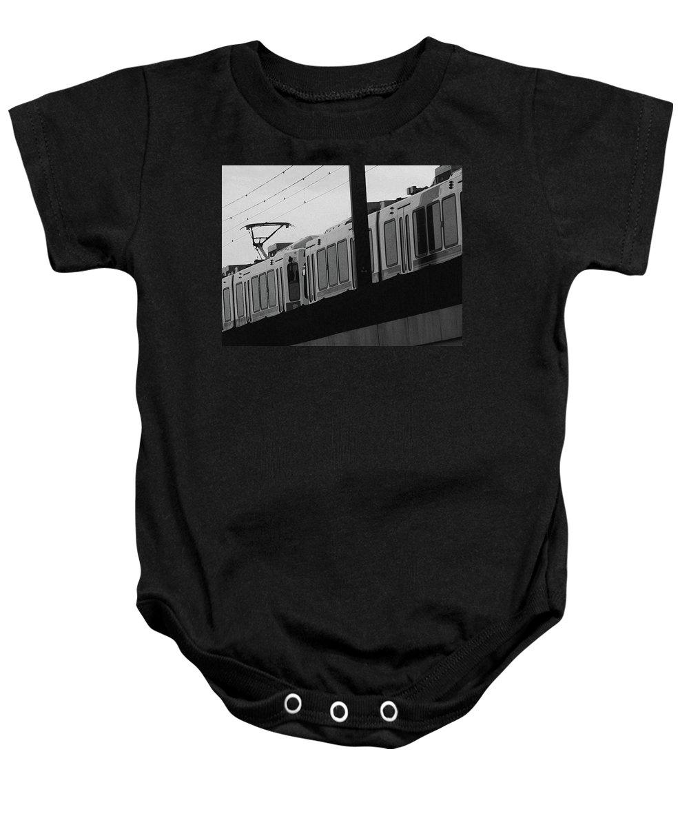 Abstract Baby Onesie featuring the photograph The Light Rail by Lenore Senior