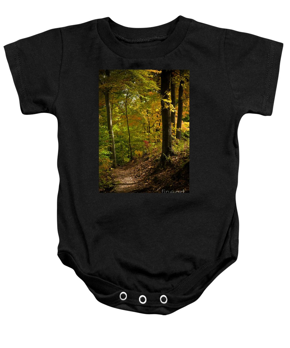 Forest Baby Onesie featuring the photograph The Light Shows The Way by Tony Bazidlo