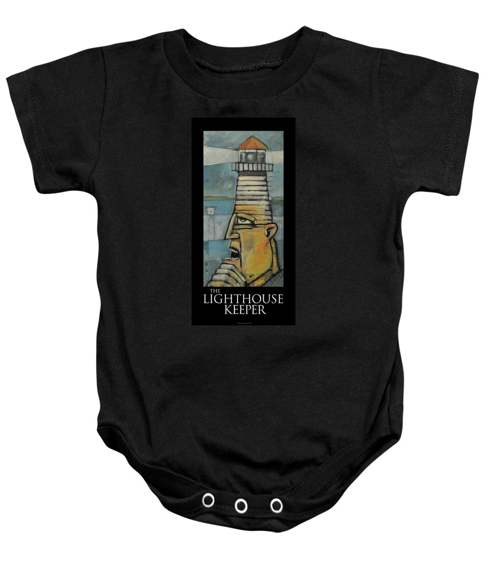 Lighthouse Baby Onesie featuring the painting The Lighthouse Keeper Poster by Tim Nyberg