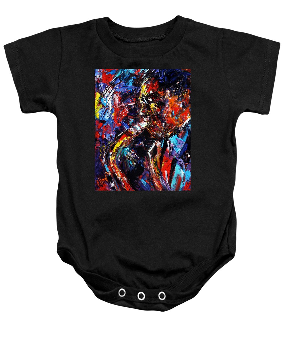 Jazz Baby Onesie featuring the painting The Likes Of Bird by Debra Hurd