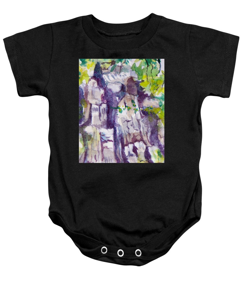 Purple Baby Onesie featuring the painting The Little Climbing Wall by Jan Bennicoff