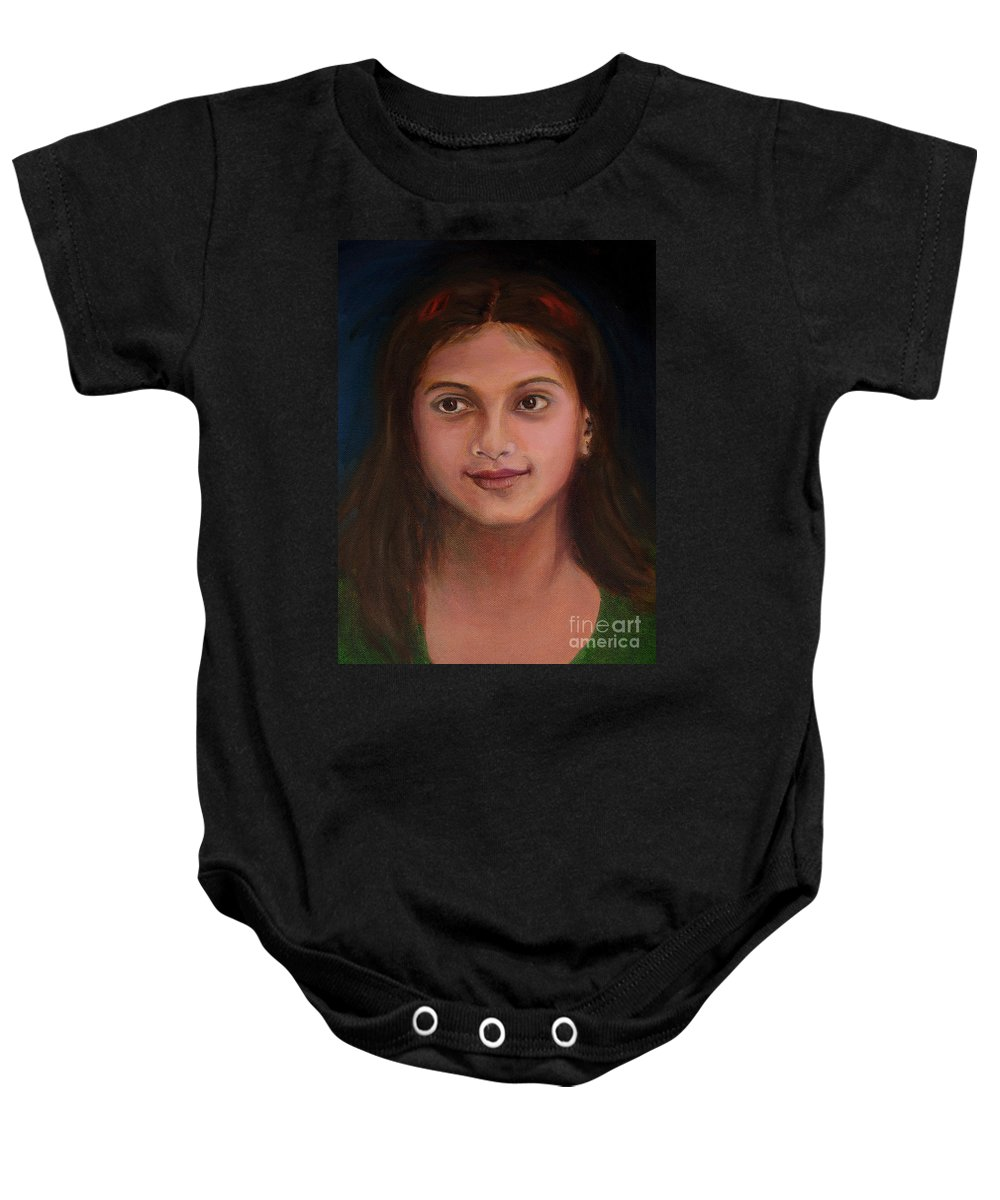 Little Indian Girl Baby Onesie featuring the painting The Little Neighbour by Asha Sudhaker Shenoy