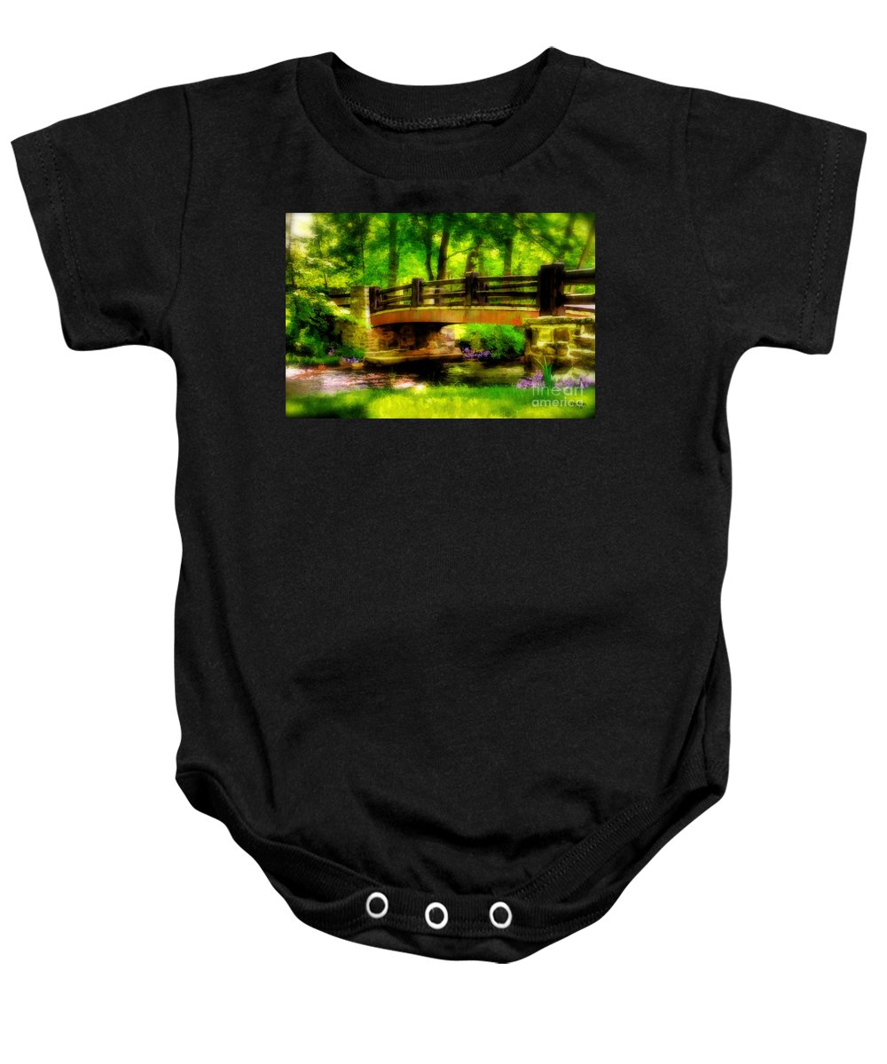 Landscape Baby Onesie featuring the photograph The Little Stone Bridge by Lois Bryan