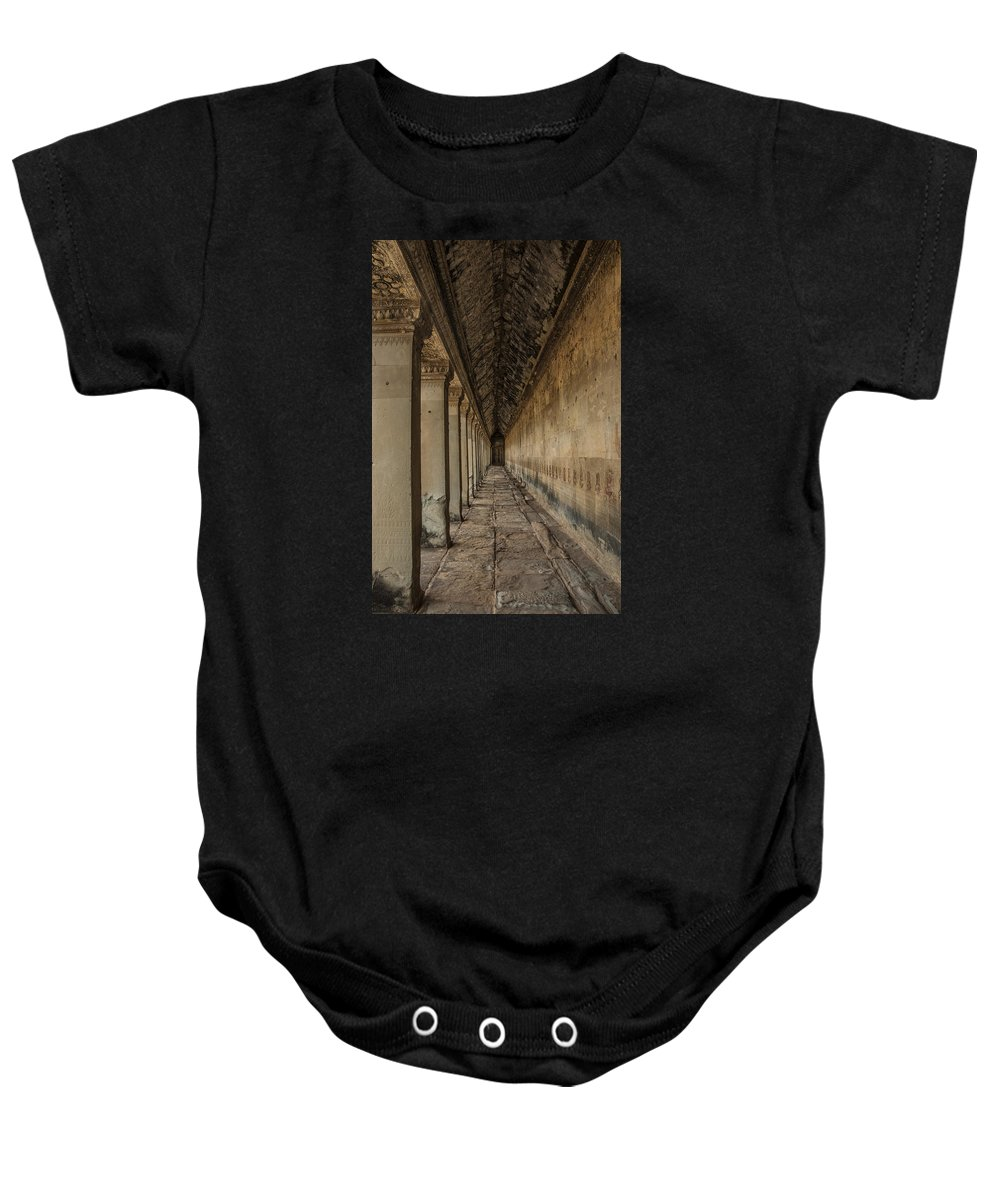 Hallway In Angkor Wat Baby Onesie featuring the photograph The Long Hall by Nichon Thorstrom