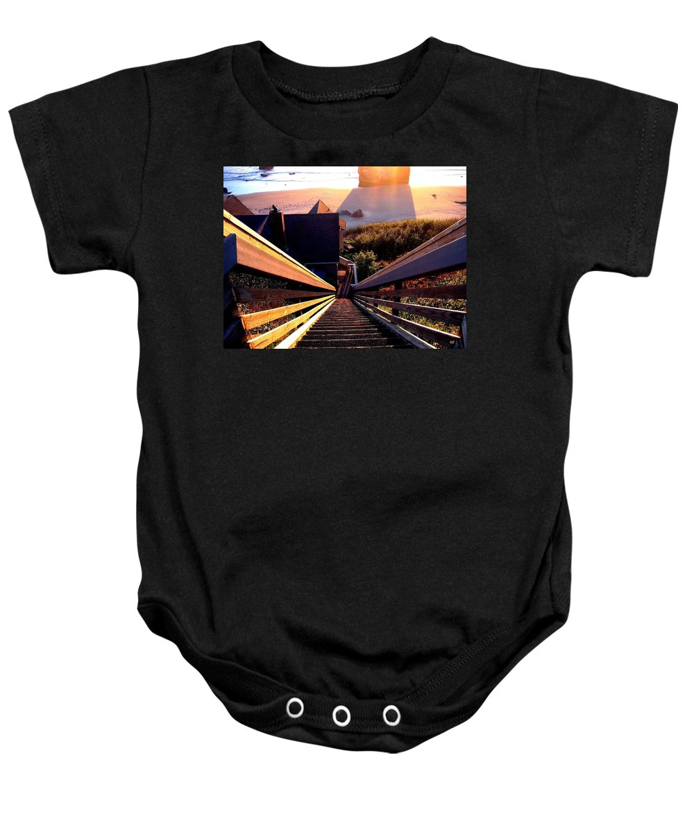 Stairway Baby Onesie featuring the photograph The Long Long Stairway  by Will Borden