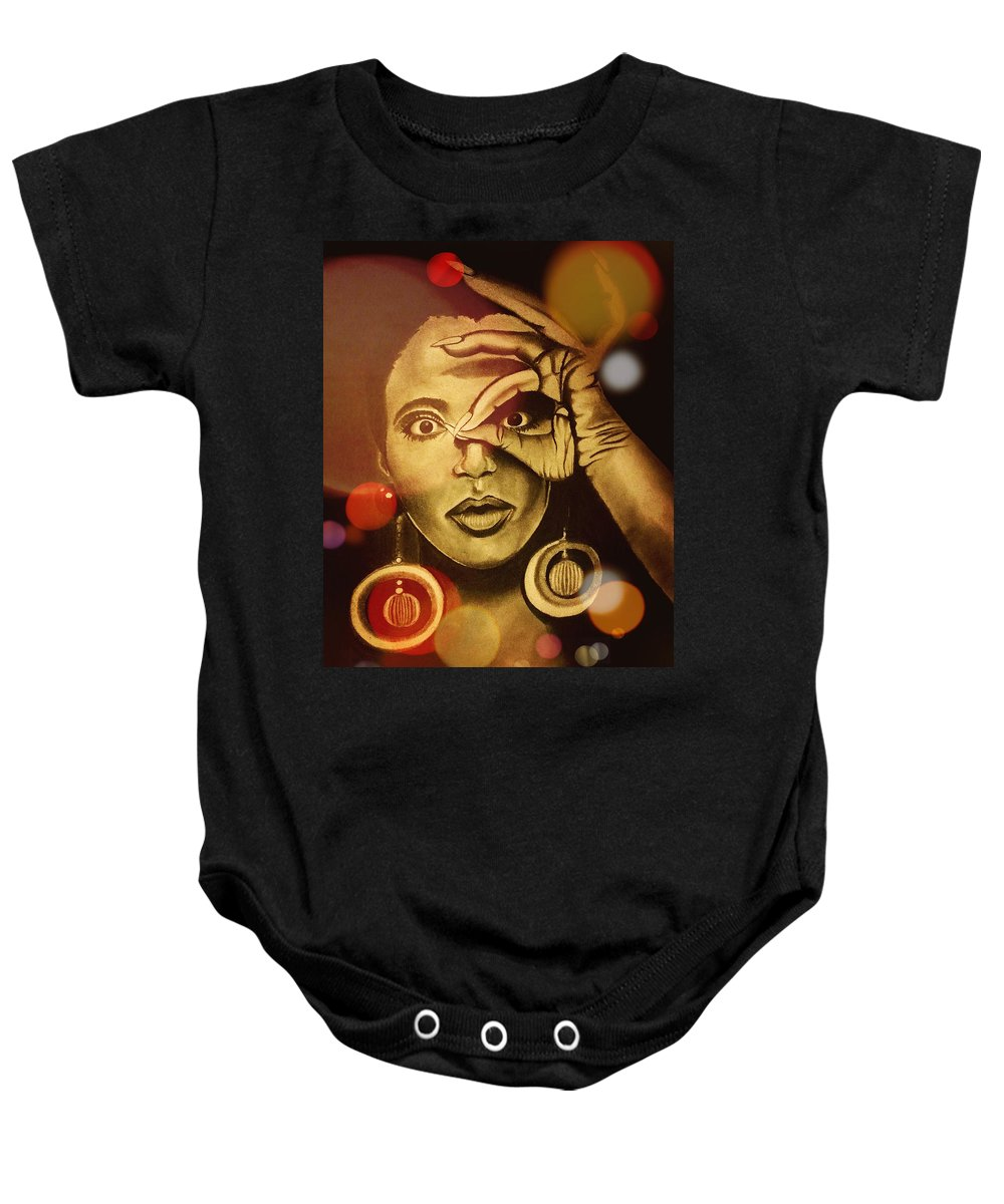 Baby Onesie featuring the drawing The Look Of Things by Anitra Carter