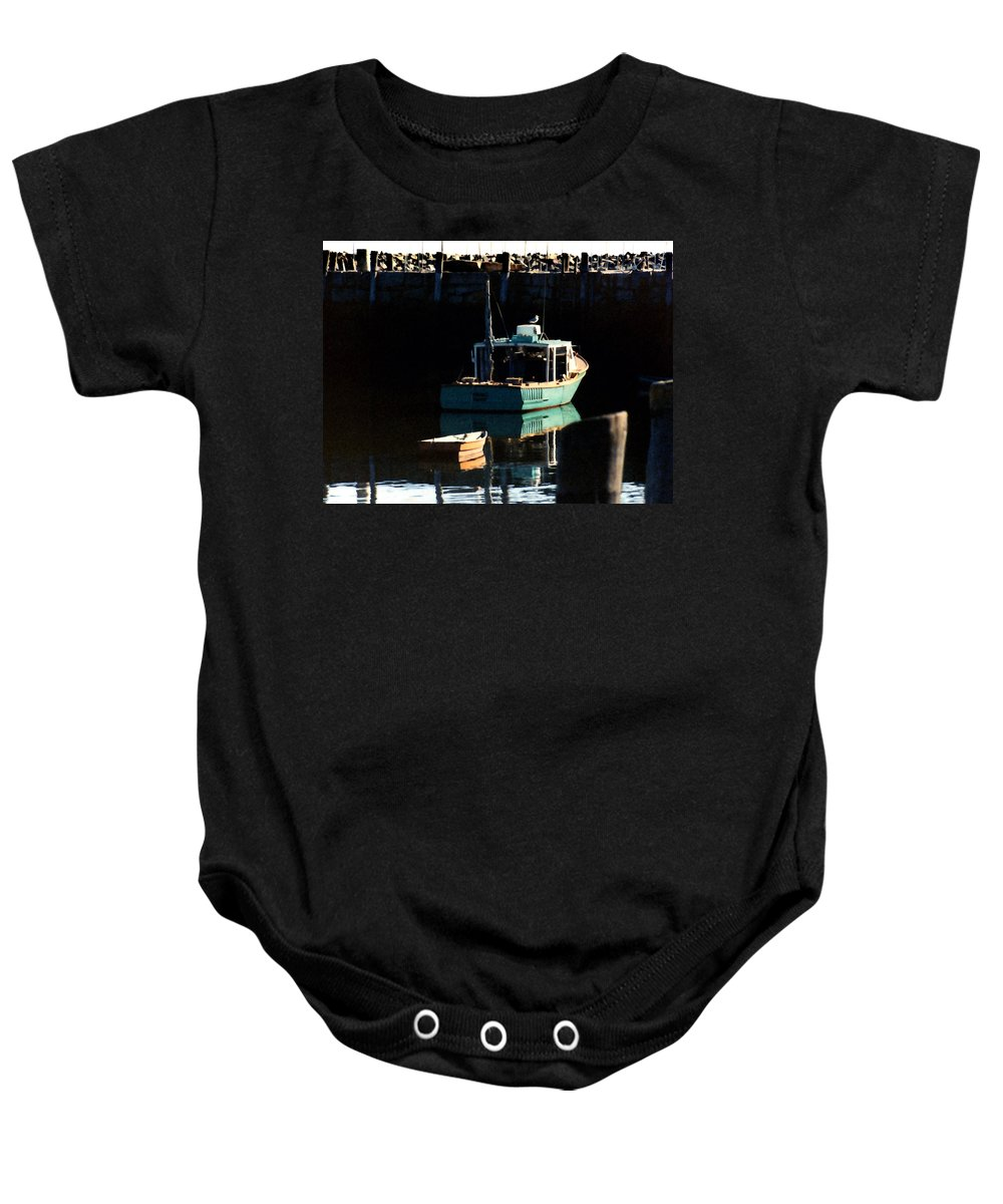 Boat Baby Onesie featuring the painting The Lookout by Paul Sachtleben