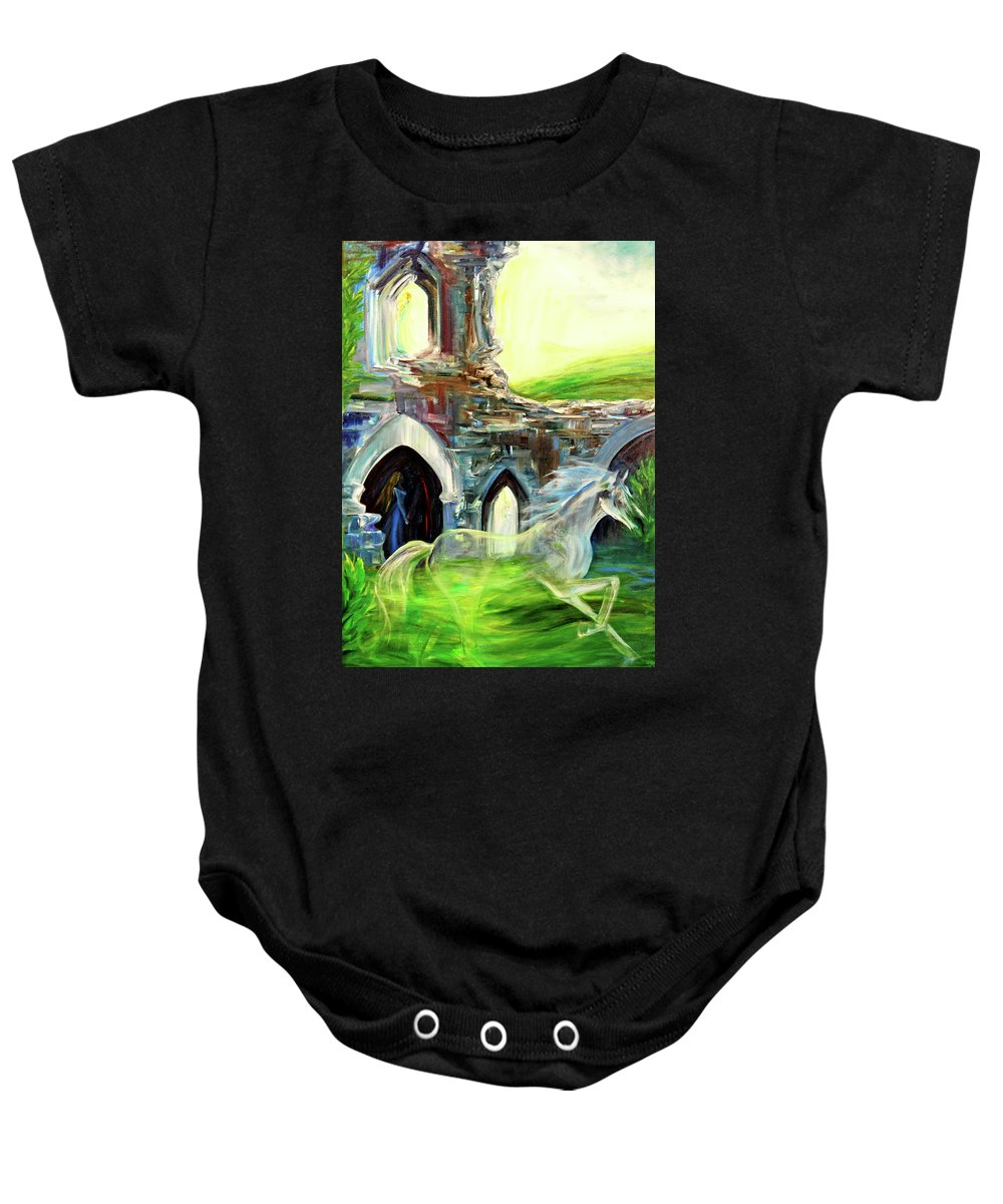 England Baby Onesie featuring the painting The Magic And Majesty Of Corfe Castle by Jennifer Christenson