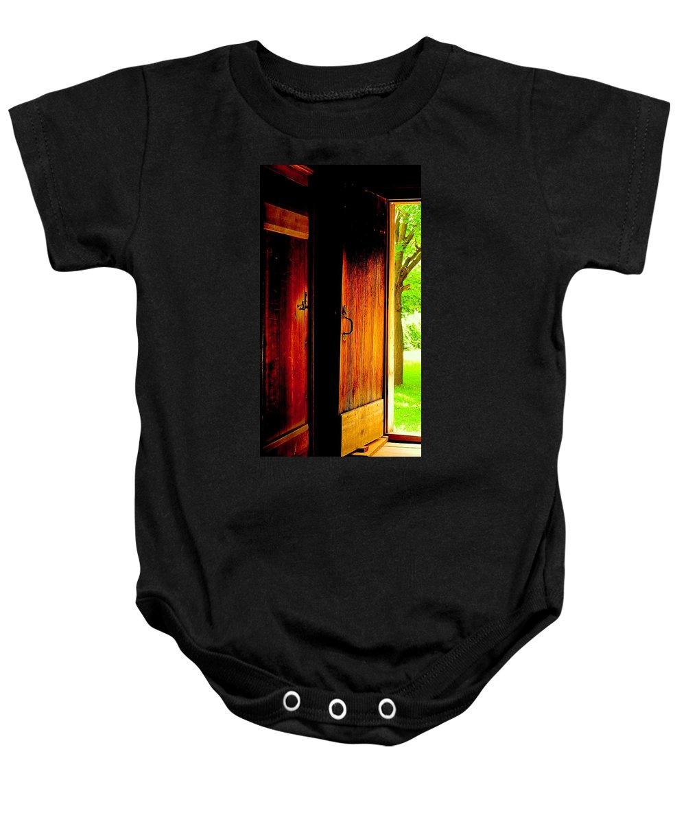 Wood Baby Onesie featuring the photograph The Meeting House Door by Ian MacDonald