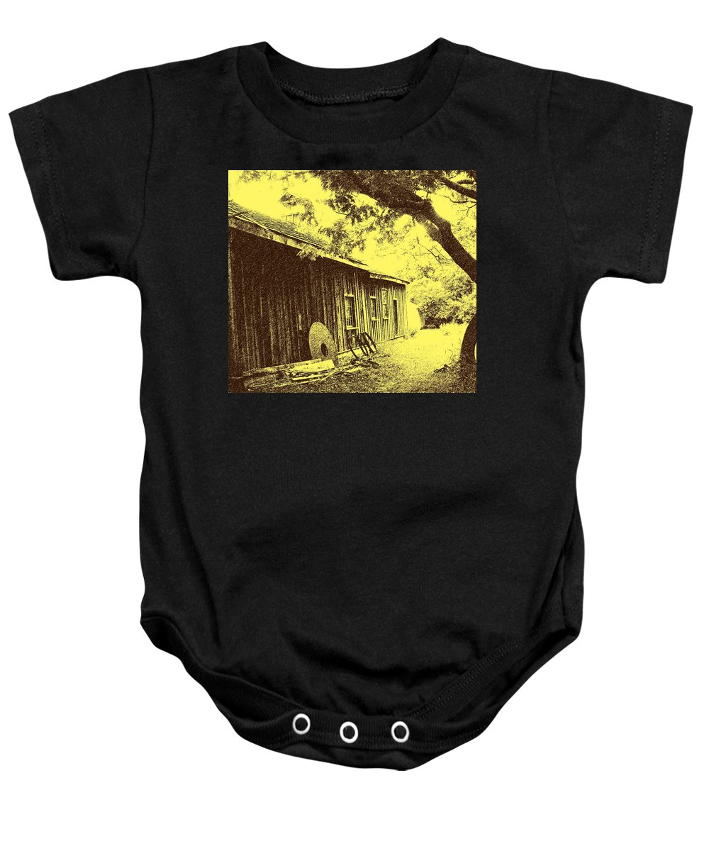 Black Creek Baby Onesie featuring the photograph The Millwrights Shed by Ian MacDonald