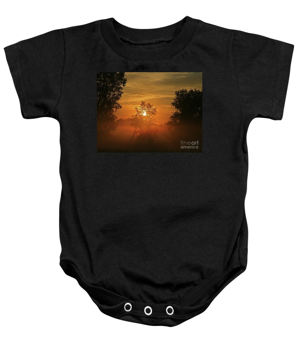 Sun Baby Onesie featuring the photograph The Mourning Mist by Robert Pearson