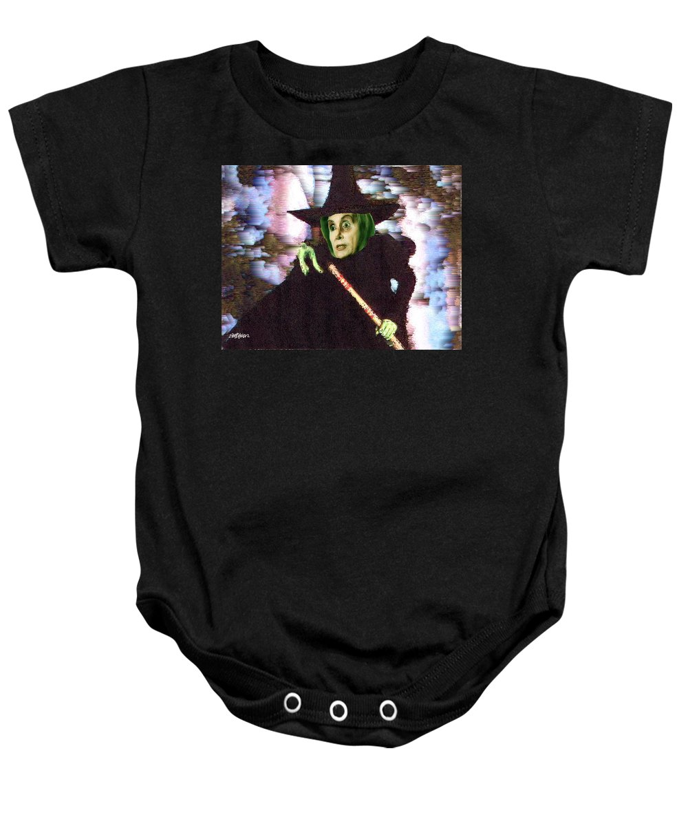 Wizard Of Oz Baby Onesie featuring the digital art The New Wicked Witch of the West by Seth Weaver