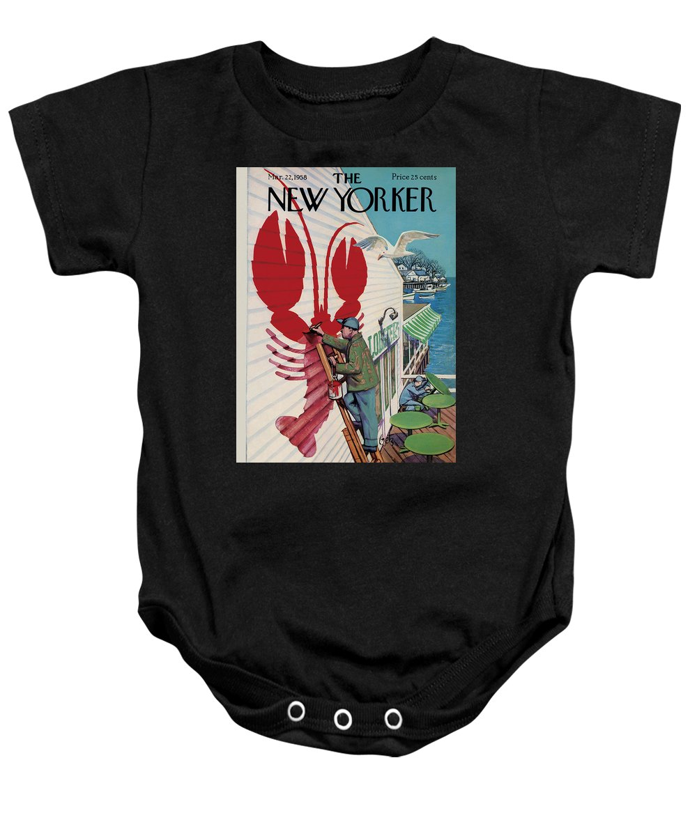 Food Baby Onesie featuring the photograph The New Yorker Cover - March 22, 1958 by Arthur Getz