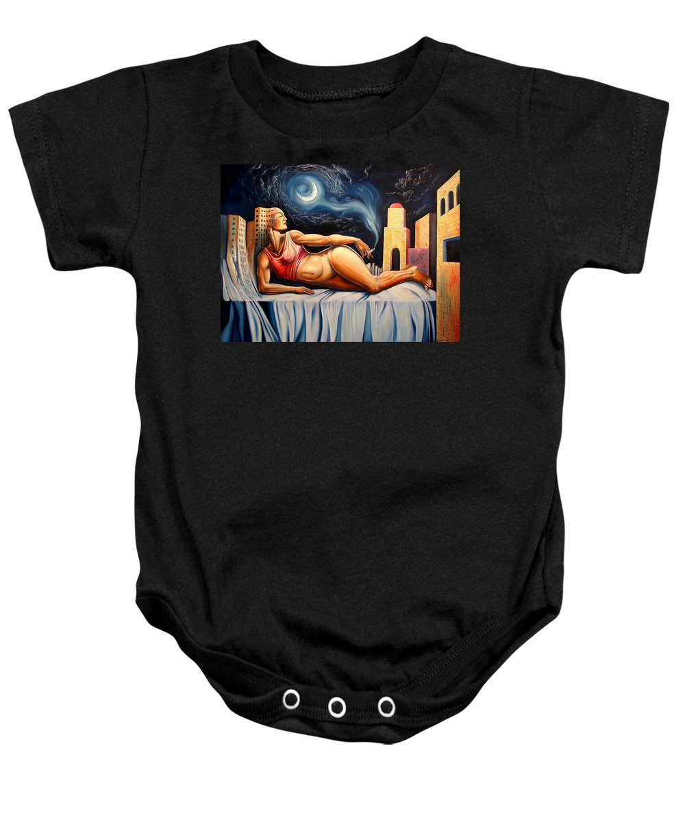 Surrealism Baby Onesie featuring the painting The Night Muse by Darwin Leon
