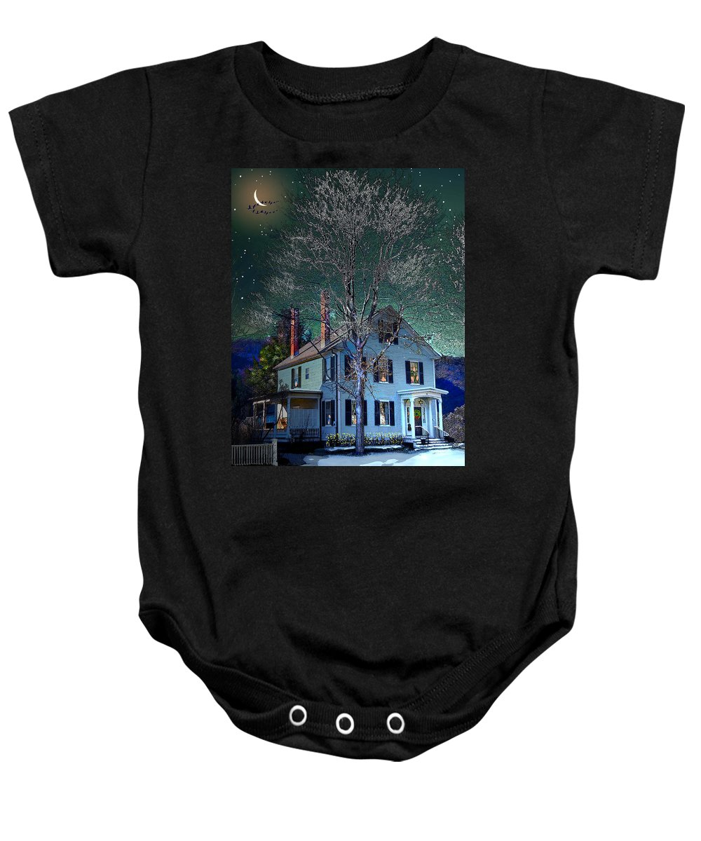 Vermont Baby Onesie featuring the digital art The Noble House by Nancy Griswold