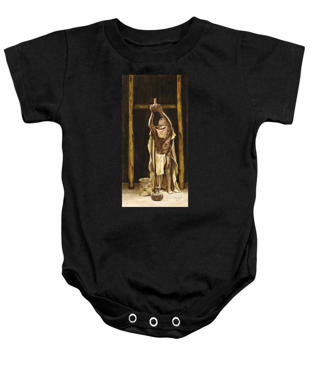 Sepia Baby Onesie featuring the painting The Offering by Mary Rogers