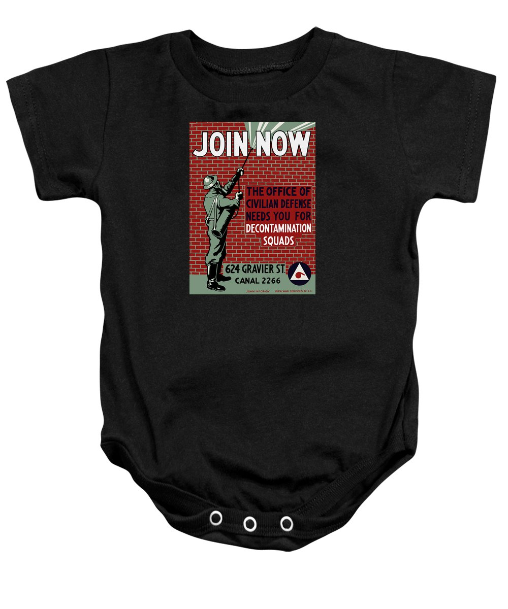 Wpa Baby Onesie featuring the painting The Office Of Civilian Defense Needs You - Wpa by War Is Hell Store