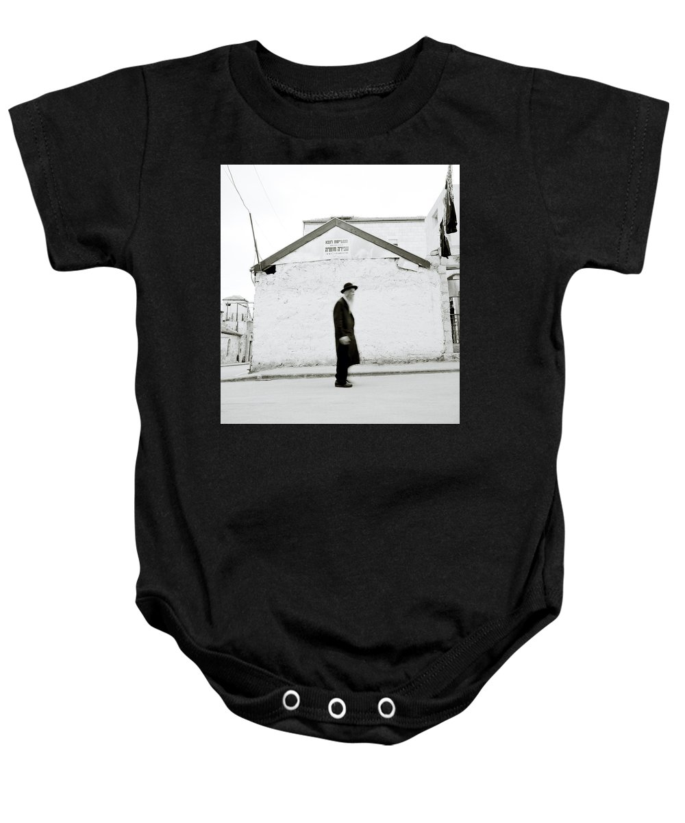 Jerusalem Baby Onesie featuring the photograph The Old Man Of Mea Shearim by Shaun Higson