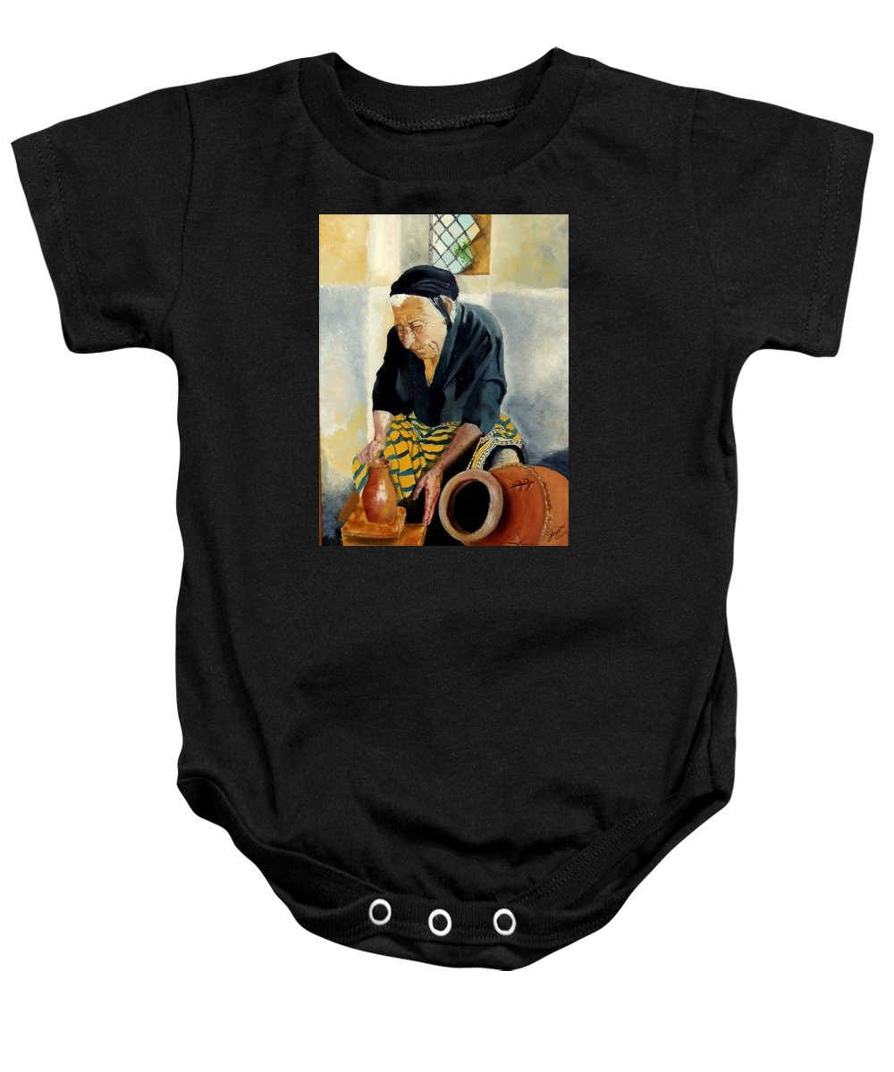 Old People Baby Onesie featuring the painting The Old Potter by Jane Simpson
