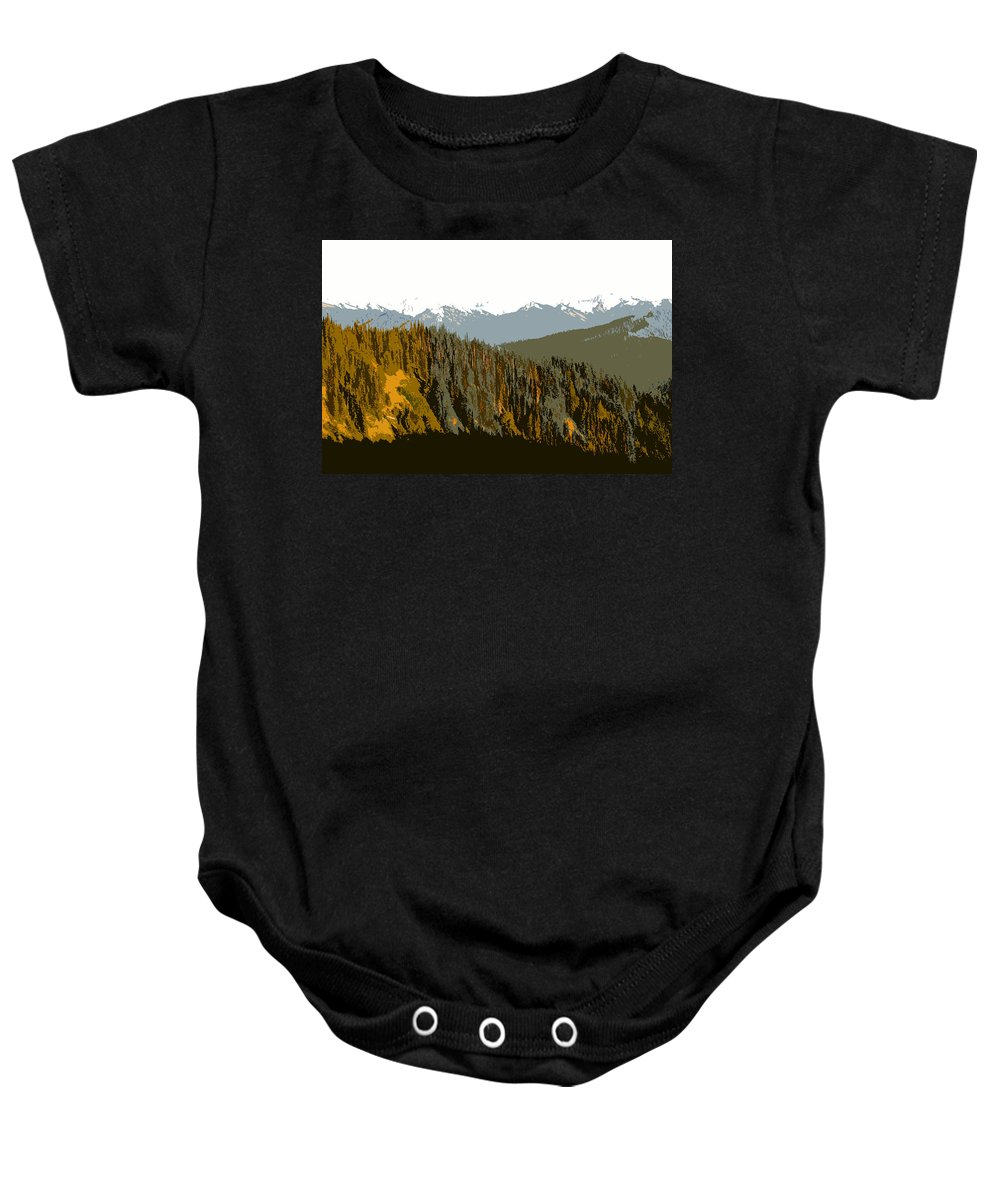 Olympic Mountains Baby Onesie featuring the painting The Olympic Mountains by David Lee Thompson