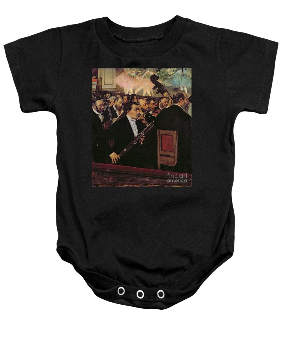The Opera Orchestra Baby Onesie featuring the painting The Opera Orchestra by Edgar Degas