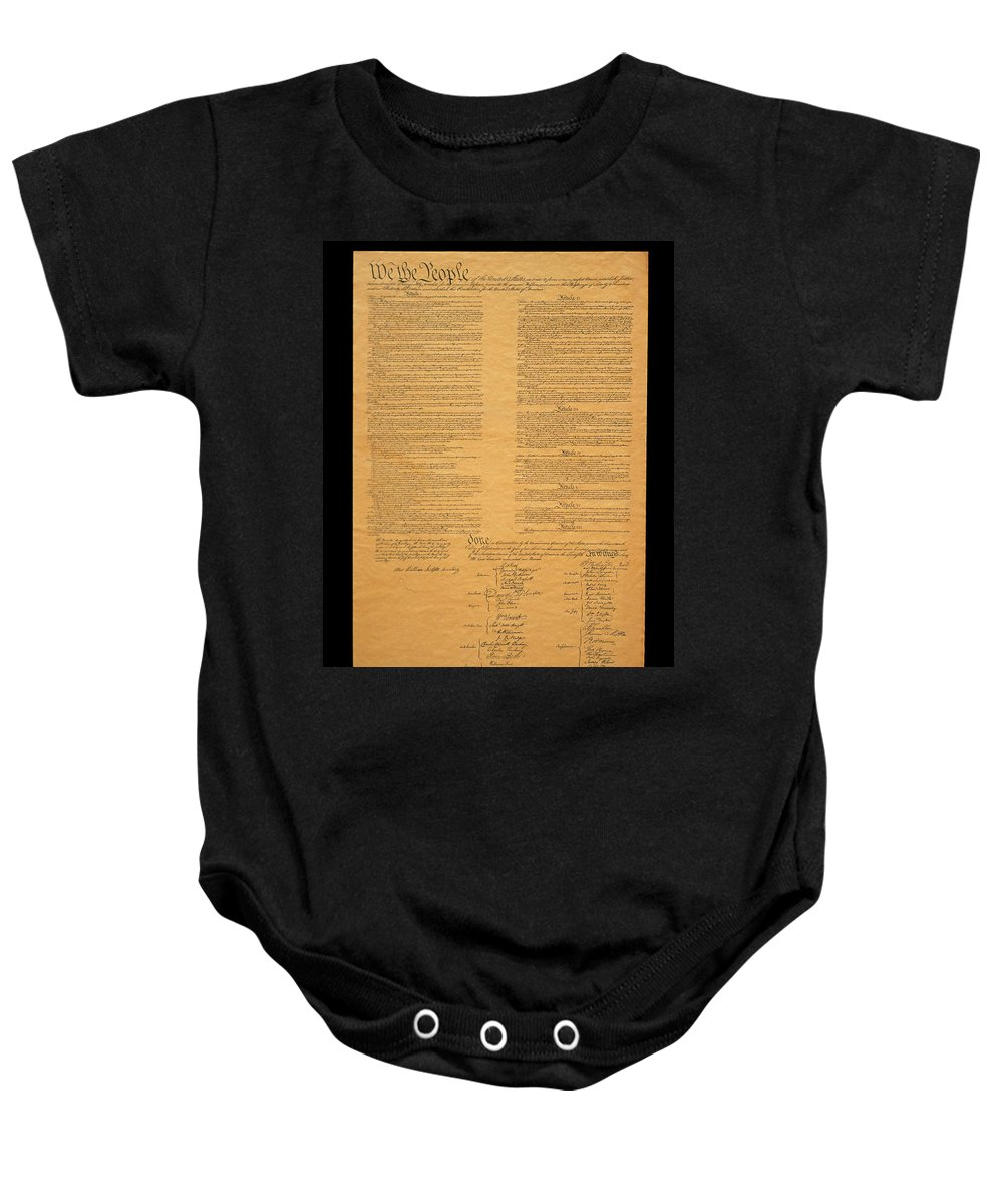 Photography Baby Onesie featuring the photograph The Original United States Constitution by Panoramic Images