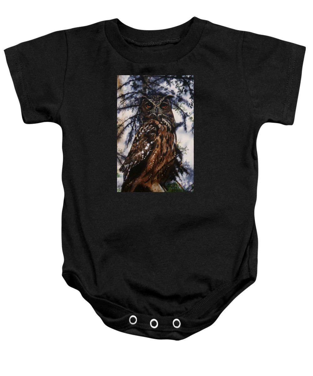 Owl Bird Baby Onesie featuring the painting The Owl by Janet Lavida