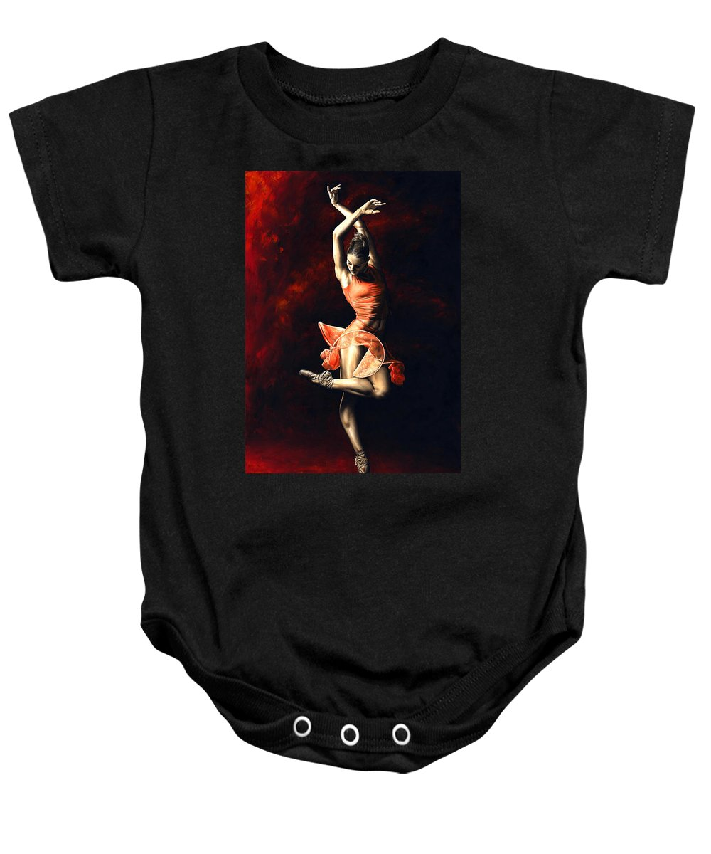 Dancer Baby Onesie featuring the painting The Passion of Dance by Richard Young