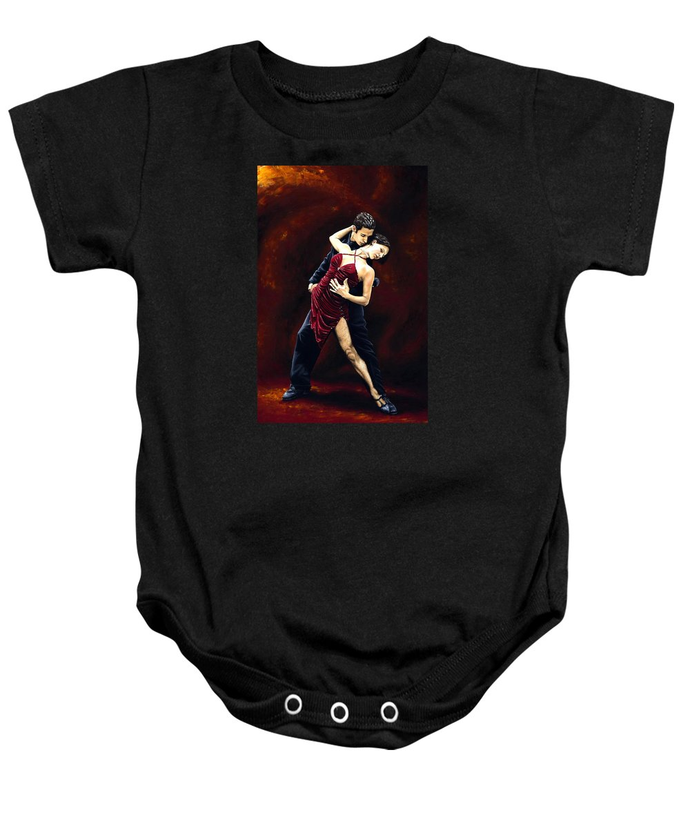 Tango Baby Onesie featuring the painting The Passion Of Tango by Richard Young