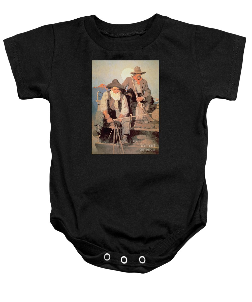 The Pay Stage Baby Onesie featuring the painting The Pay Stage by Newell Convers Wyeth