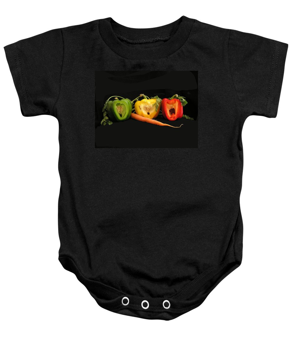 Pepper Baby Onesie featuring the photograph The Pepper Trio by Carol Milisen