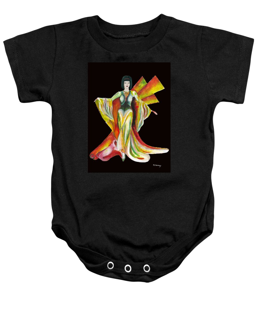 Dresses Baby Onesie featuring the painting The Phoenix 2 by Tom Conway