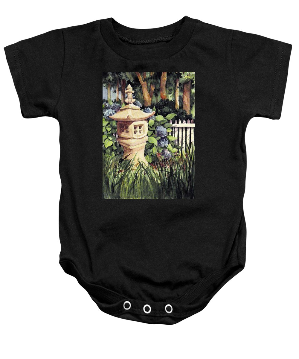 Statue Baby Onesie featuring the painting The Pi House by Michael Pearson