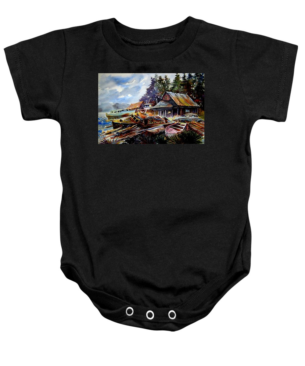 Boats Baby Onesie featuring the painting The Preserve Of Captain Flood by Ron Morrison