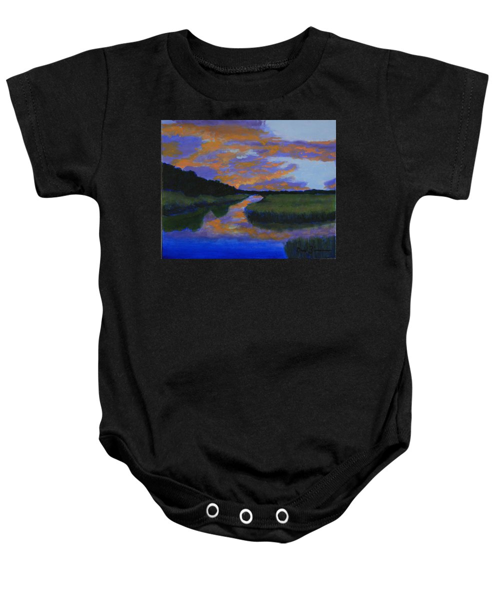 Sunset On The Wetlands Baby Onesie featuring the painting The Promise Of Night by David Zimmerman