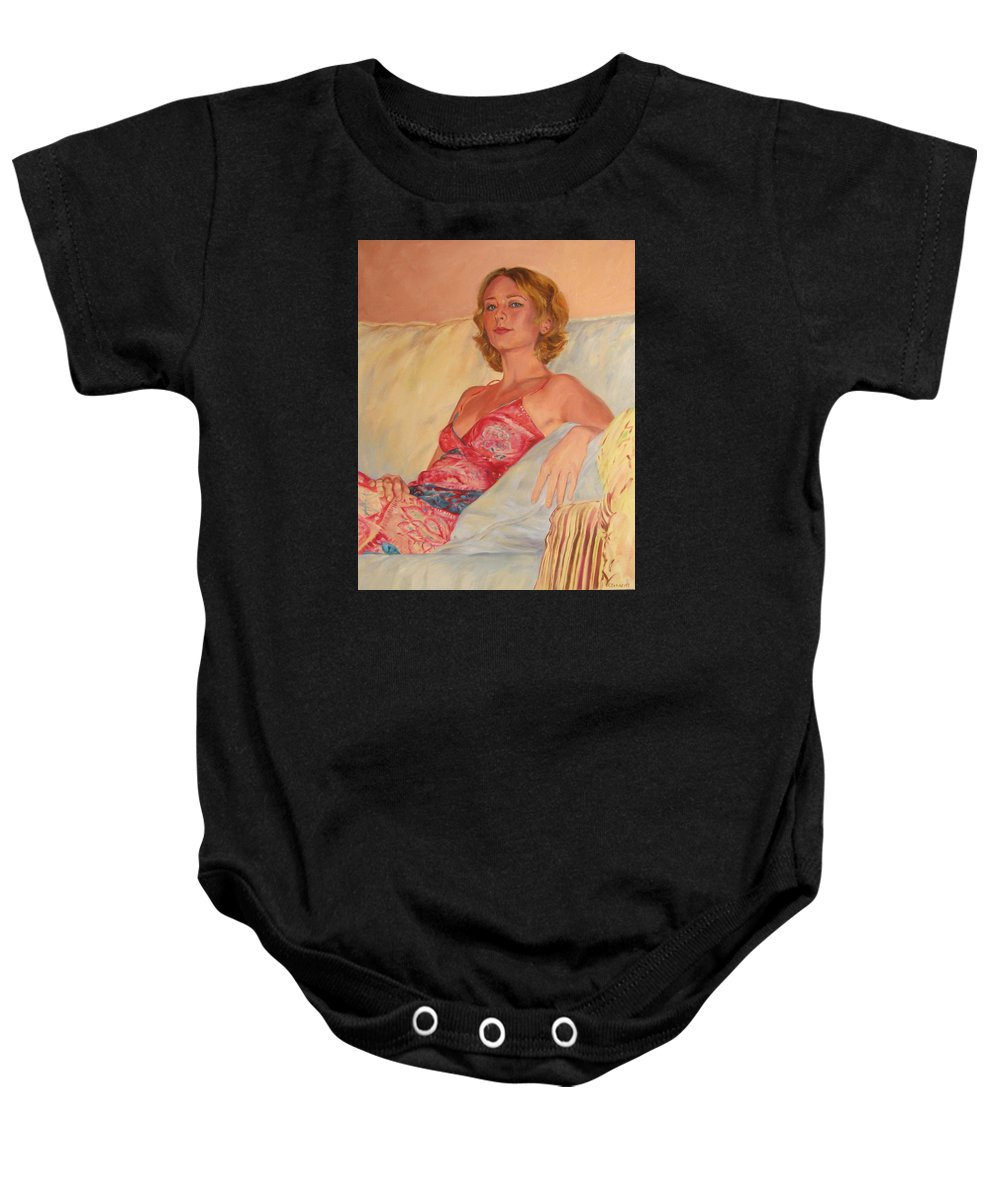 Portrait Baby Onesie featuring the painting The Queen At Her Ease by Connie Schaertl