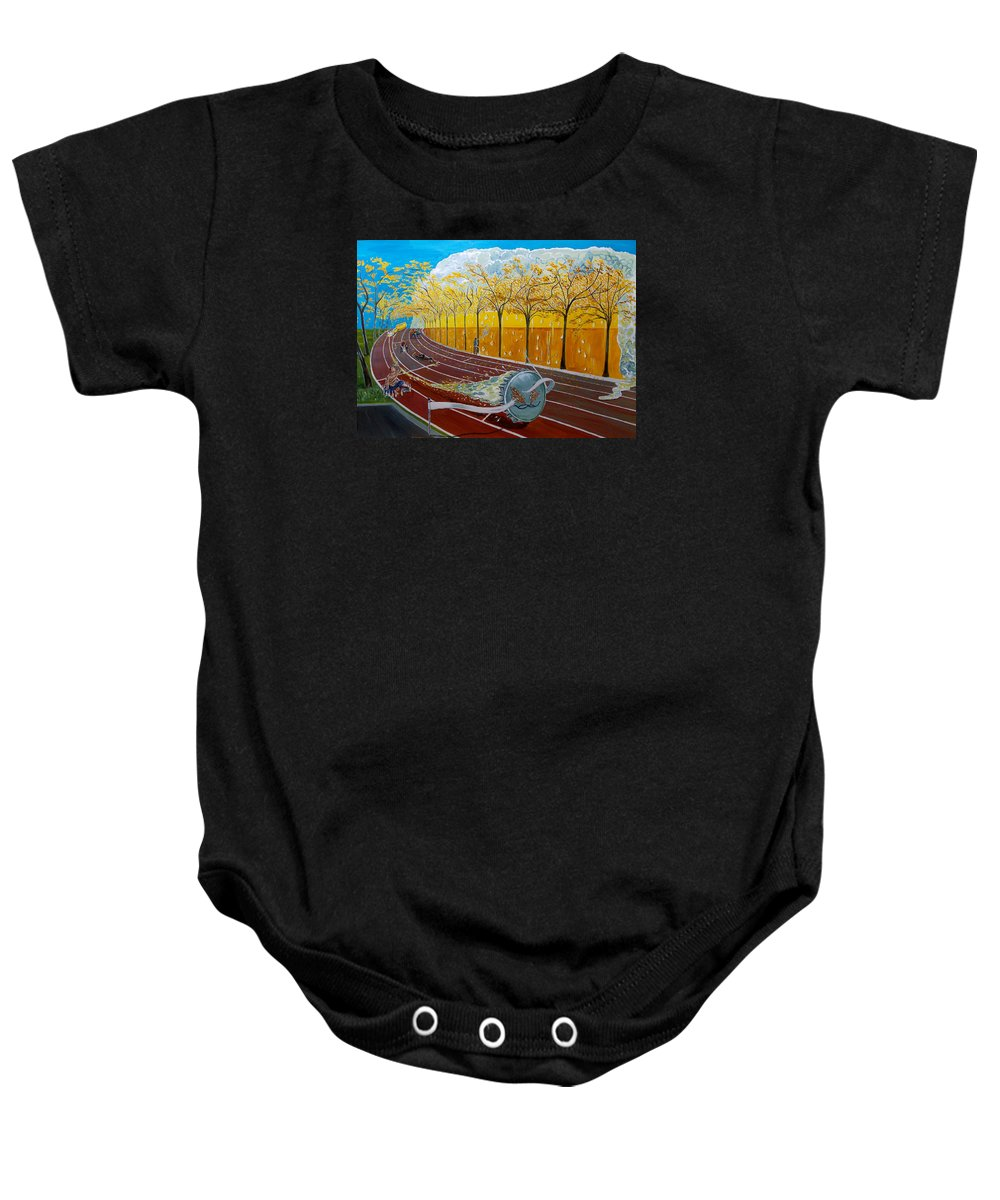 Surreal Baby Onesie featuring the painting The Race Of Tumbles by Lazaro Hurtado