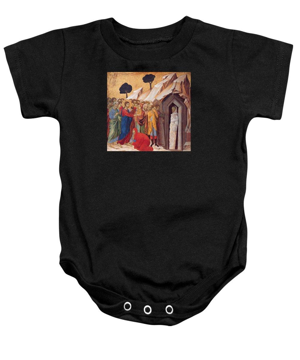 Duccio Baby Onesie featuring the painting The Raising Of Lazarus by Duccio