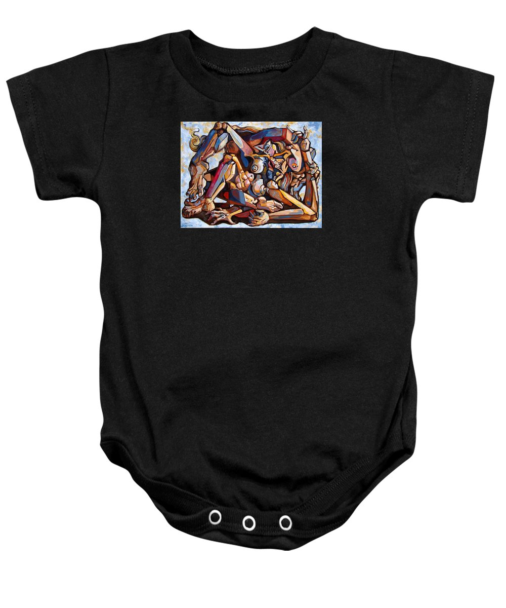 Surrealism Baby Onesie featuring the painting The Rape by Darwin Leon