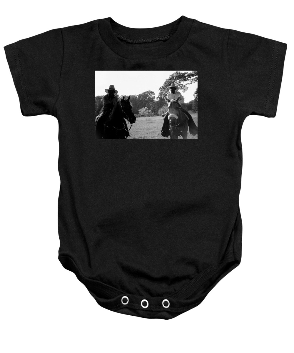 Men Baby Onesie featuring the photograph The Real Cowboys by Deborah Crew-Johnson