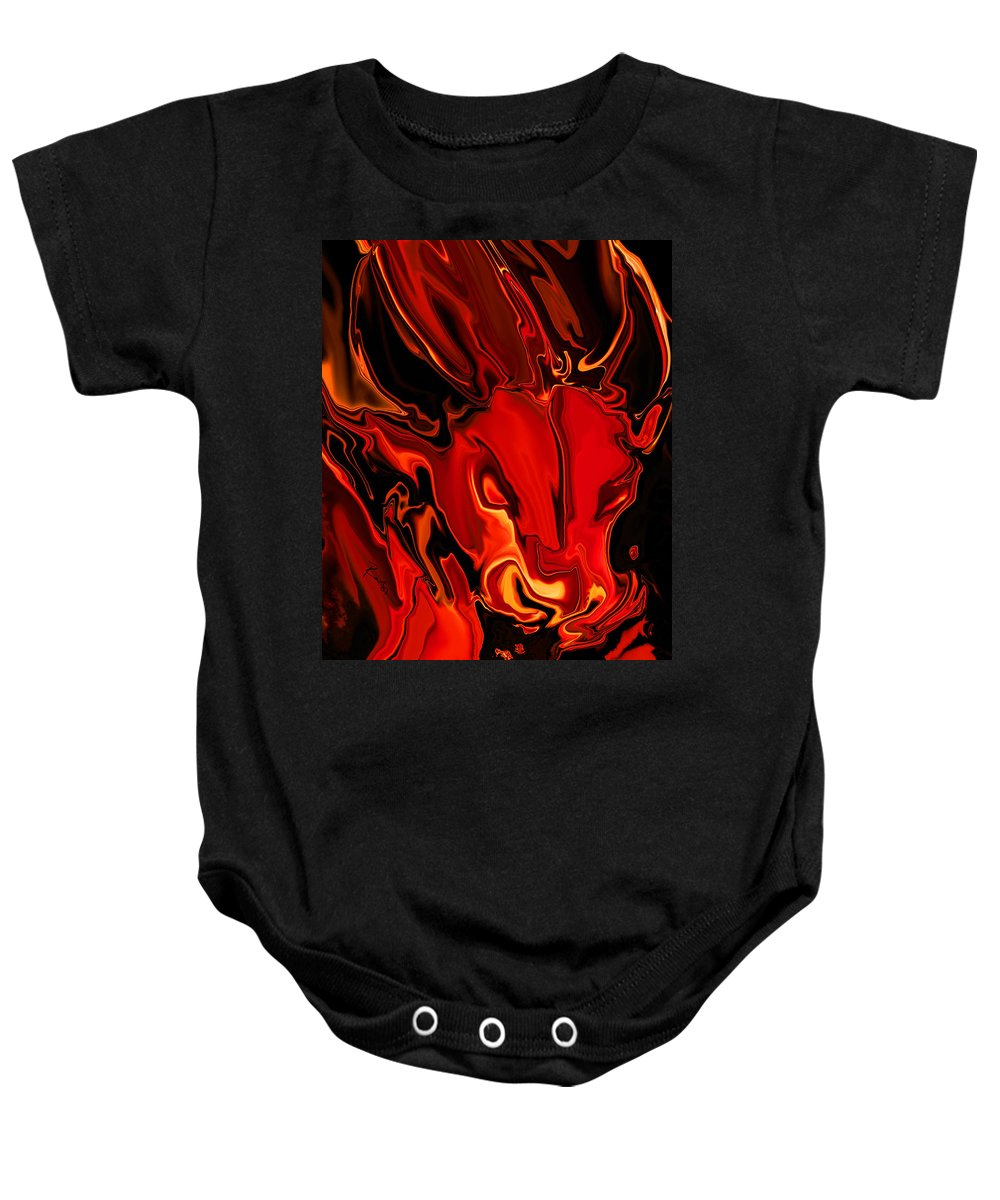 Animals Baby Onesie featuring the digital art The Red Bull by Rabi Khan