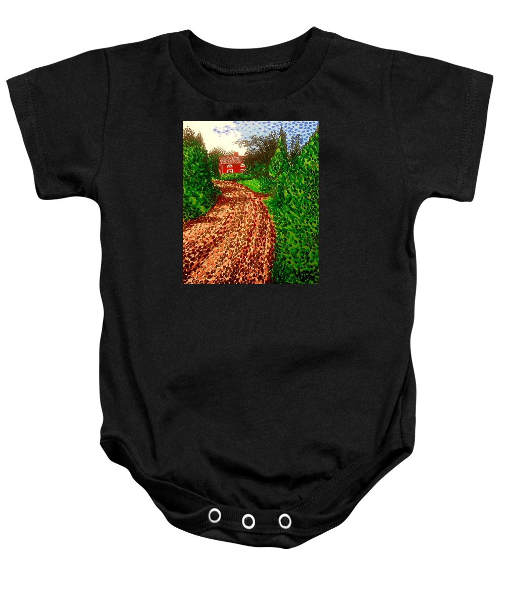 Acrylic Baby Onesie featuring the painting The Red House In Finland by Alan Hogan