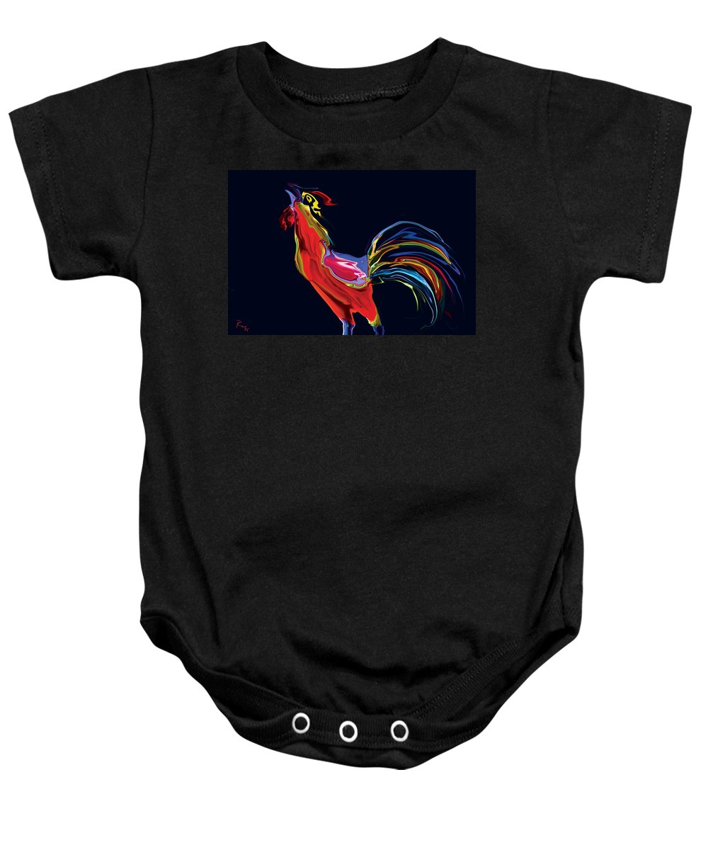 Red Baby Onesie featuring the digital art The Red Rooster by Rabi Khan