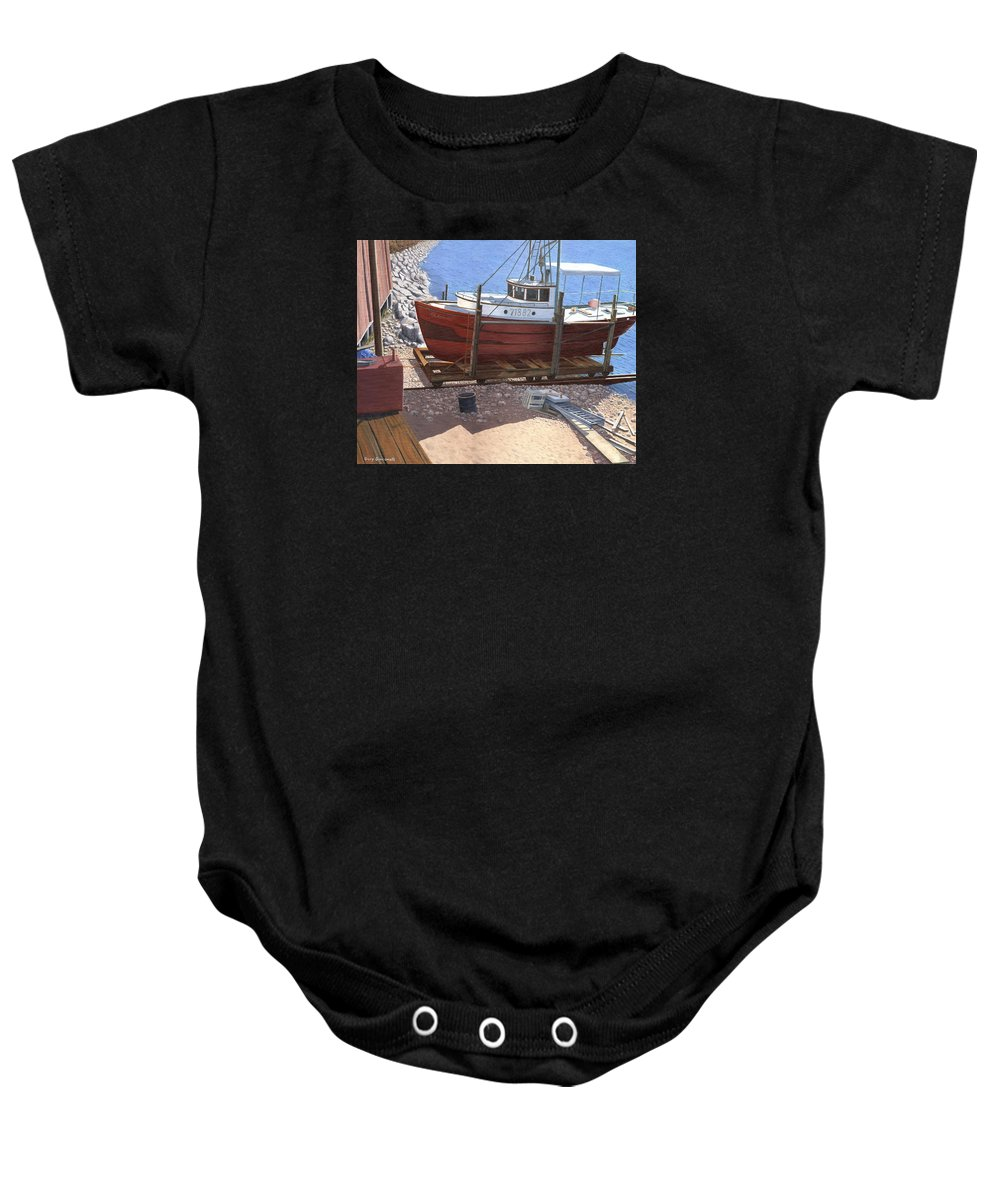 Fishing Boat Baby Onesie featuring the painting The Red Troller by Gary Giacomelli