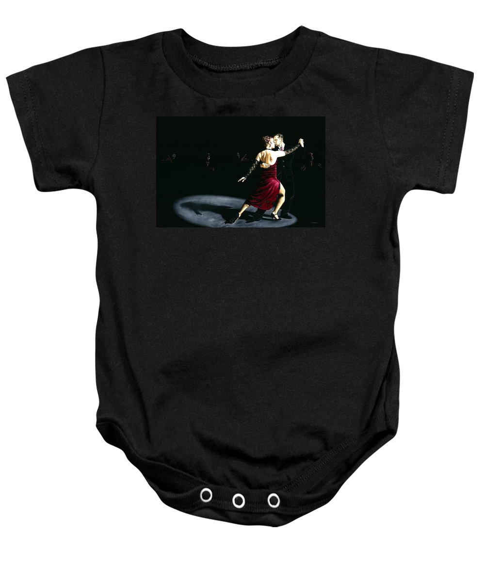 Tango Baby Onesie featuring the painting The Rhythm Of Tango by Richard Young