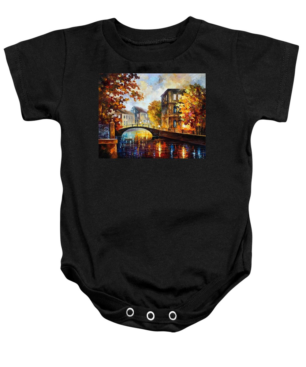 Afremov Baby Onesie featuring the painting The River Of Memories by Leonid Afremov