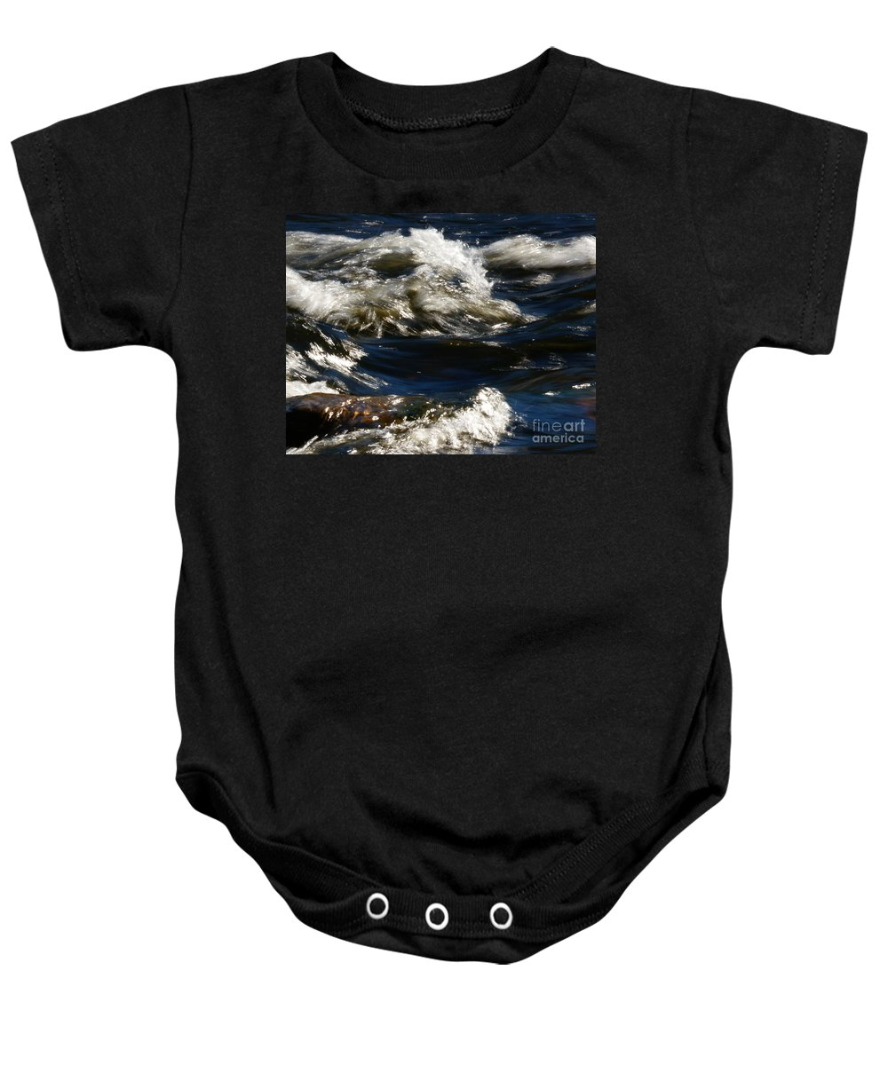 River Baby Onesie featuring the photograph The River Rush by Linda Shafer