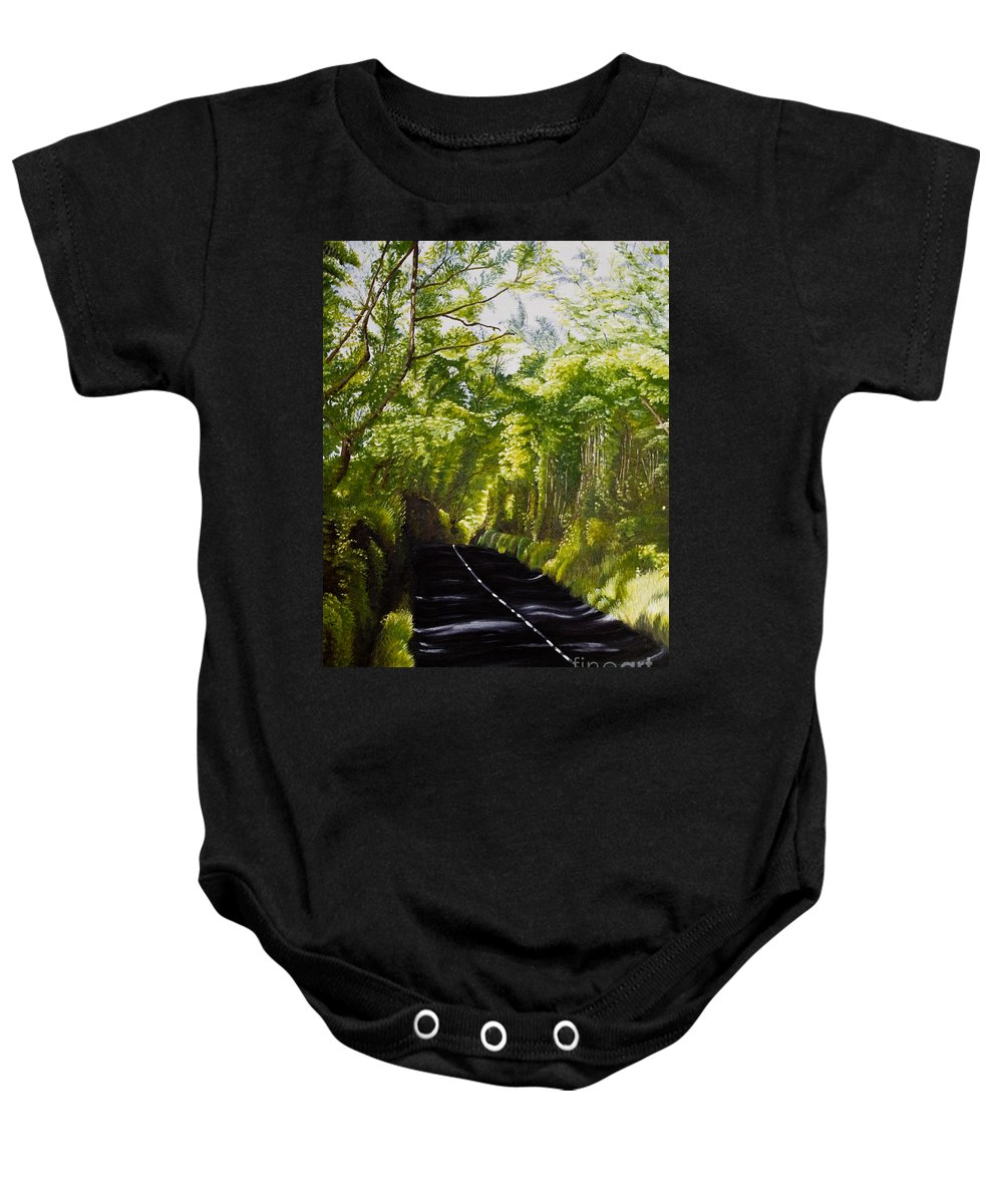 Landscape Baby Onesie featuring the painting The Road Through Glenastar by Pauline Sharp